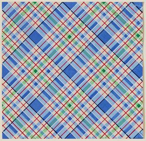Image of Fabric design (Blue, red, and green plaid pattern)